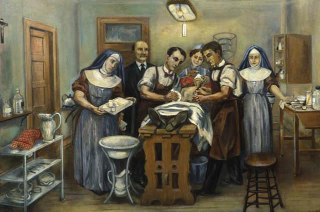 Первая операция в госпитале Св. Марии.